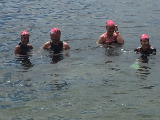We swam the whole thing--and we're a little bit giddy, can you tell?