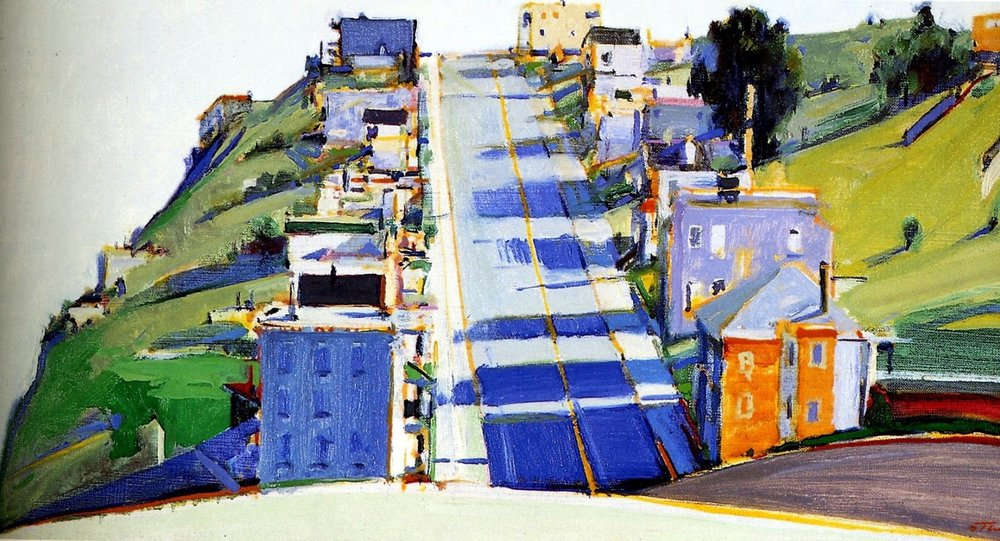 Colorful painting of a street with apartment buildings on both sides by Wayne Thiebaud.