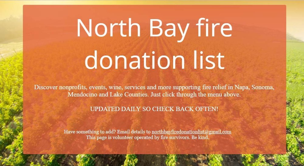 north bay fire donation list