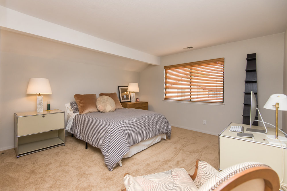 Nice sized master bedroom with new carpet.
