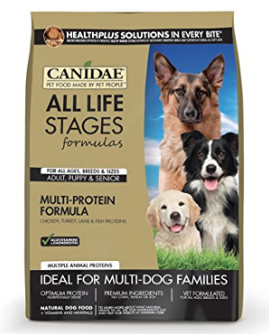 10. CANIDAE Single Grain Protein Plus - This is our favorite of the many awesome CANIDAE food products. Why do we love it? Well, its made in the USA. All of the company's products are made without corn, wheat, soy, grain fractions, or fillers and are all naturally preserved. Released in 2010, the nutritional focus of CANIDAE Single Grain Protein Plus was to offer 29% protein. While restricting its foods grain sources to rice. Exclusively using a wholesome combination of both brown and white rice. Additionally it offers five high quality protein sources in total. Beginning with fresh chicken as the first ingredient, followed by chicken turkey, lamb, and fish.