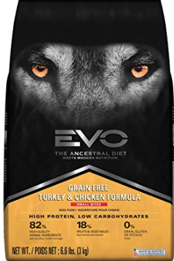 9. Evo Turkey and Chicken Meal Formula - Evo dog food is grain free and hits the spot with the three major areas of importance. It's fortified with minerals, easily digestible, and high in protein content. It's also low in carbohydrates, with a mix of ingredients that promote healthy skin and coats. High in nutrients and energy dense, this food will help keep your pooch active. Plus it's amino acids and essential minerals will keep up strong muscles and bones intact.