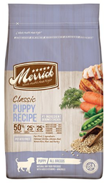 7. Merrick Classic Beef, Barley & Carrot - The Merrick Classic product line includes seven dry dog foods and all are pretty great. The lamb, brown rice, and apple combo did get a 4 star rating. This one boasts sweet potatoes, which is a gluten free source of complex carbohydrates, and a naturally rich way to get dietary fibers and beta keratine. It also has pork fat which may sound gross but its great for flavoring while being high in essential omega 6 fatty acids.
