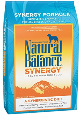 6. Natural Balance Synergy  - Synergy is a good word, right? Aside from the obvious good beet ingredients, this food has beet pulp for intestinal health and blood-sugar benefits.  It also contains oatmeal. Naturally rich in B vitamins, dietary fiber, flax seed, and brewers yeast. which repels flees and supports the immune system. It's topped off with salmon oil which is naturally rich in the EPA and DHA types of omega 3 fatty acids. All in all, super good stuff for pups.