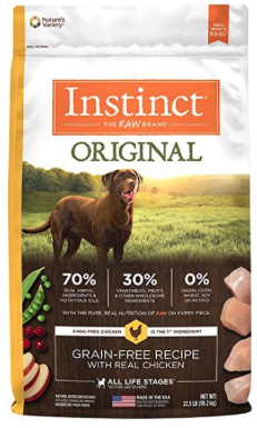5. Nature's Variety Instinct Duck Meal and Turkey Meal - The Nature's Variety Instinct product line includes five dry dog foods and while all of them are great, and 5 start rated, we especially love this formula. Lots of good protein from concentrate and a few interesting ingrate ingredients; tapioca, canola oil, pumpkin seeds, and alfalfa meal. It's both a natural source of dietary fiber and a prebiotic used to promote the growth of healthy bacteria in a dog's digestive track.