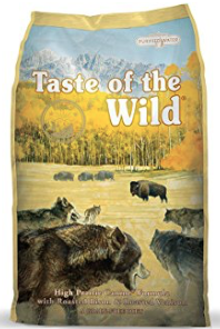 2. Taste of The Wild - The Taste of The Wild product line includes seven dry dog foods and they're all pretty great. Our top pic is Taste of the Wild High Prairie formula which reached its 5 star rating on Dog Food Advisor. No, not all of their products did, but none less than 3.5. The food has a protein boosting effect through its pea protein, peas, and flax seed, as well as potato protein and garbanzo beans. Its grain free made with purified water, and it's suitable for pups of all ages.