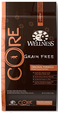 1. Wellness Core - The Wellness Core product line includes seven dry dog foods. Six which claim to meet AAFCO nutrient profiles for adult maintenance. This above average dry product has a dry matter protein reading of 38% , a fat level of 13%, and estimated carbohydrates of about 41%. What does this mean? The brand is way above average with protein, near average with fat, and below average with carbs that we compared to a typical dry dog food. As you might have guessed, these are all very good things. Plus, tons of Flax seed, yum!