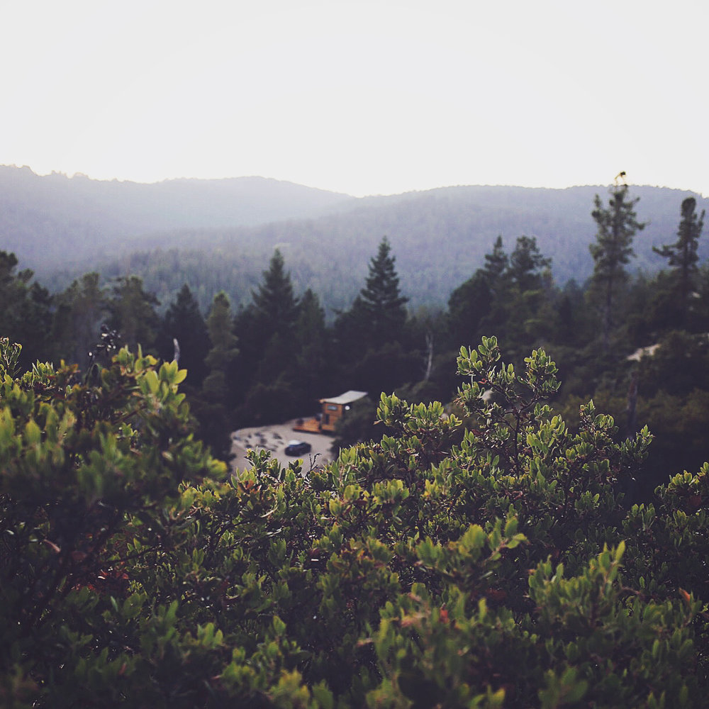 Our tiny house, parked on a beautiful 20-acre property in the Santa Cruz Mountains.