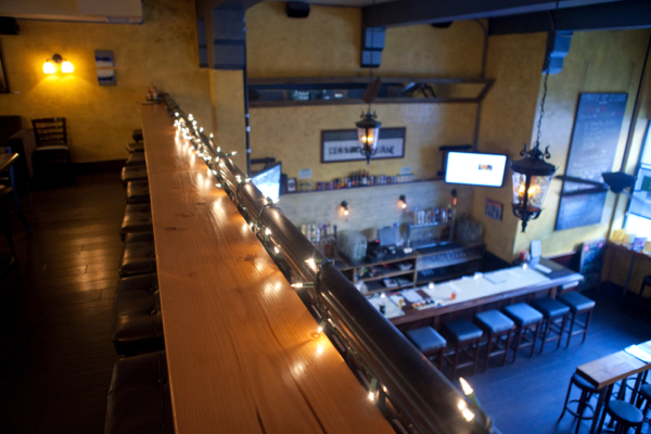 Overhead view of downstairs bar
