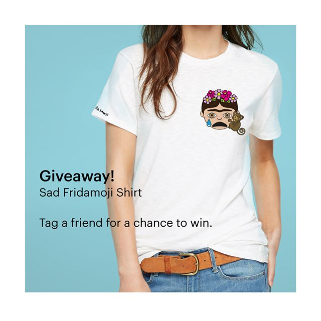 ⚡️GIVEAWAY TIME!⚡️ To celebrate how amazing you are, I'm giving away a #FridaMoji shirt! To enter, COMMENT on this photo and TAG at least one friend. Make sure you're following @museum_ito on Instagram (if you aren't already). Contest ends 12pm PST on Monday, 3/27. I'll randomly select a winner and announce it here. Good luck! I am going to try to make this a weekly thing...cause it is fun. For me. 😍 . . . (RULES: You must be 18 or older to enter. Open to U.S. residents only. Entries will be accepted until 3/27 at 12pm PST.  The winner will be chosen at random and announced here on 3/27. This promotion is in no way sponsored, endorsed or administered by, or associated with, Instagram.) . . . #artwork #art #artist #moji #cute #emoji #creative #design #happy #emojis #emoji4emoji  emojisinthewild #emojiworld #emojiart #museum_ito #museumito #artnerd #artlovers #artfido #frida #fridakahlo #fridakahlomx @fridakahlooficial @fridamkahlo @frida_inspired #FridaInspired #Frida #FridaKahlo #Friducha #fridamoji