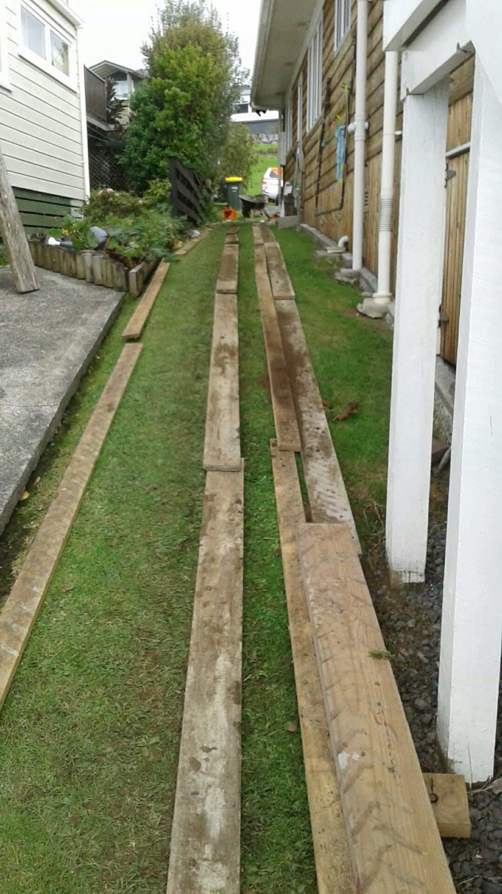 Using planks to access and protect the customer's property