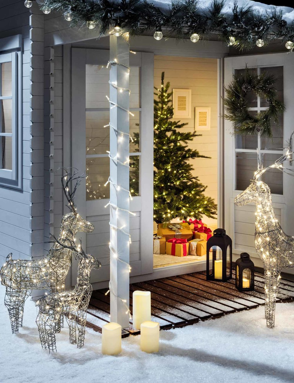 Wrap pillars with fairy lights. Image via  HERE