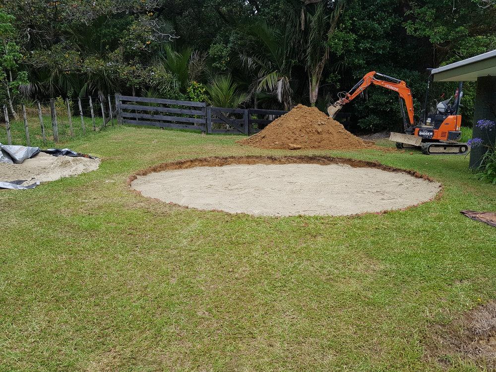 Matakana   New pad created which awaits the arrival of the pool.