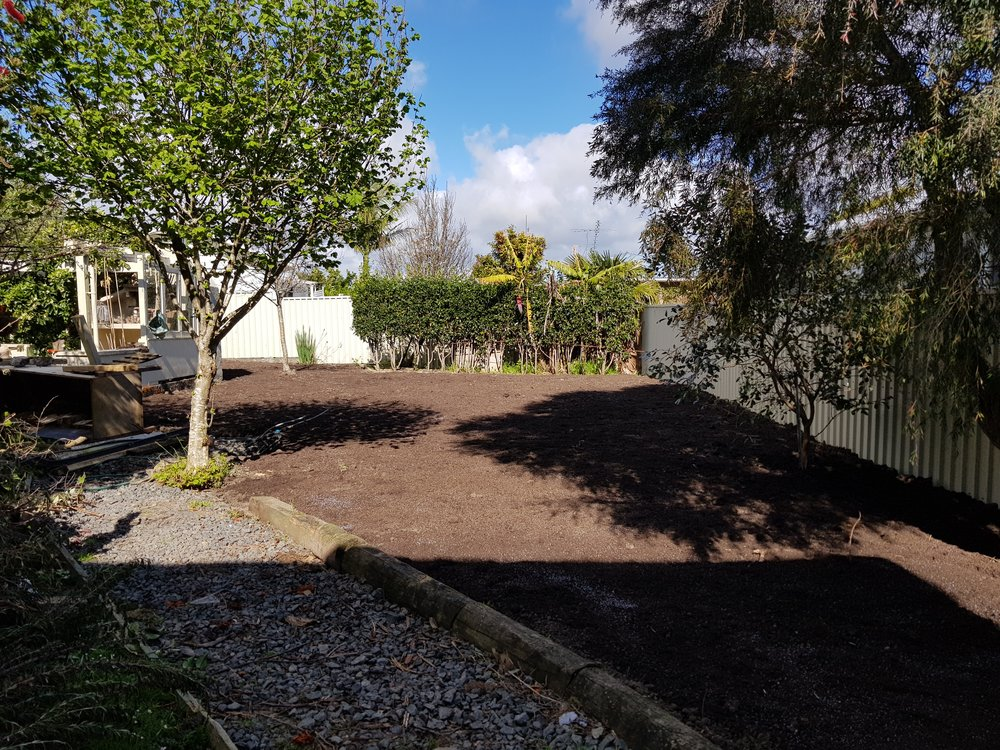 Snells Beach   We were asked to create a lawn but firstly remove old bird aviaries, tree stumps and garden waste. Plenty of space now for the herb garden and to kick a ball around.