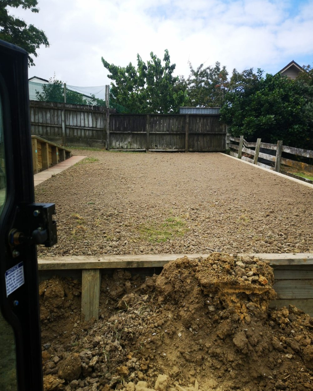 Snells Beach   Lawn reshaping with new topsoil and grass seeds. Let it rain!