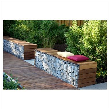 Wood or stone top bench seat  Image via  HERE