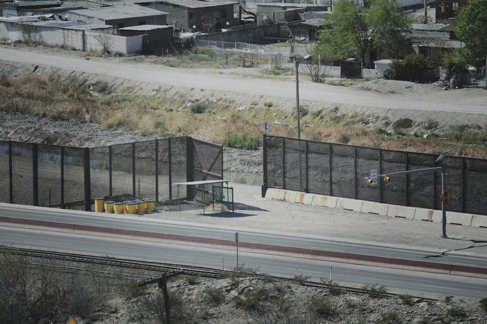 An opening in the U.S.-Mexican Border fence in between El Paso and Juarez