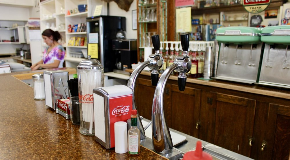 The counter at the Soda Fountain has the trappings of a Norman Rockwell painting