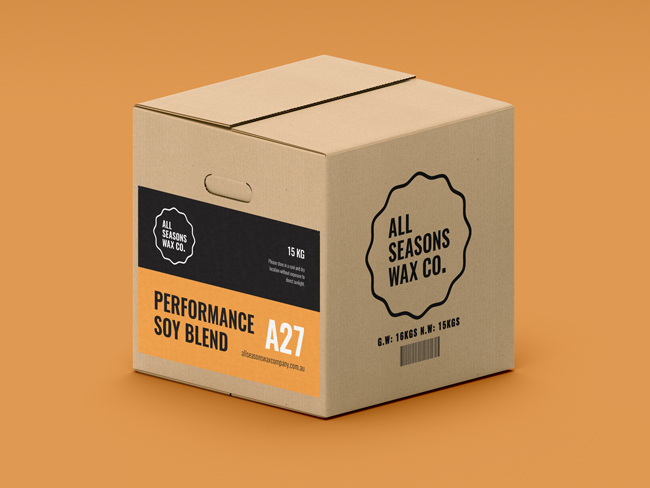 A27 Performance Blend Soy Wax cartons include cut-out handles making them easier to pick-up and move around!