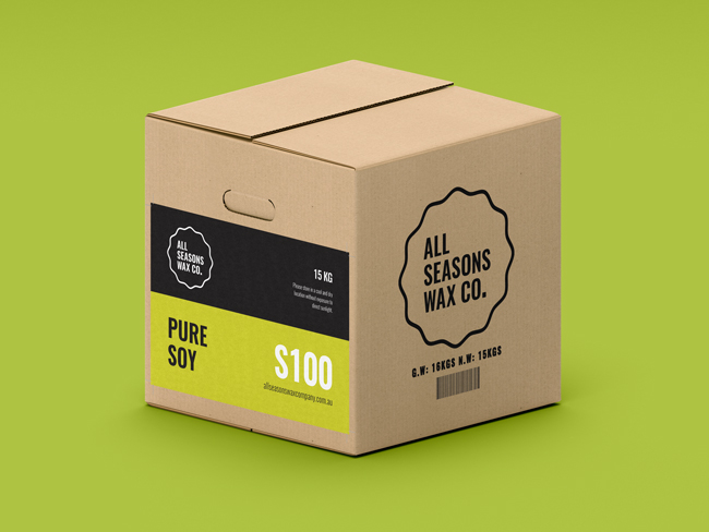 S100 Pure Soy Wax cartons include cut-out handles making them easier to pick-up and move around!
