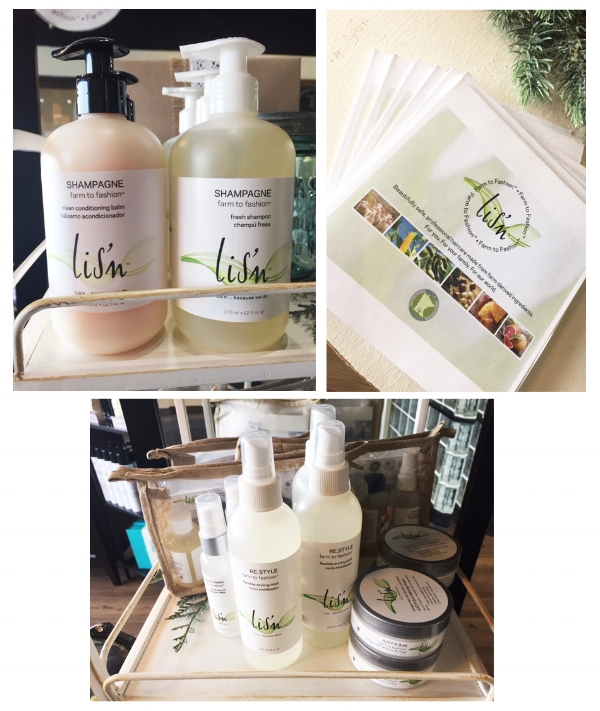 Lis'n  Farm to Fashion. Sulfate free, paraben free, gluten free, no animal testing and made in Minnesota. With a nod to the American farmer, Lis'n is crafted with naturally-derived Farm to Fashion ingredients, safe for our world. We ship from our farm direct to salons across the USA.