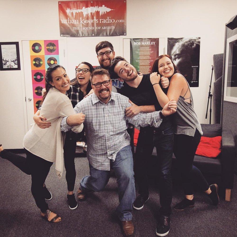 The group that started Urban Knights Radio. Lorena King, Elizabeth Sweeney, UKR General Manager & COM instructor Matty Staudt, Kevin Rosenbaum, Casey Franco and Torina Giannetto. (Photo courtesy of Matty Staudt.)