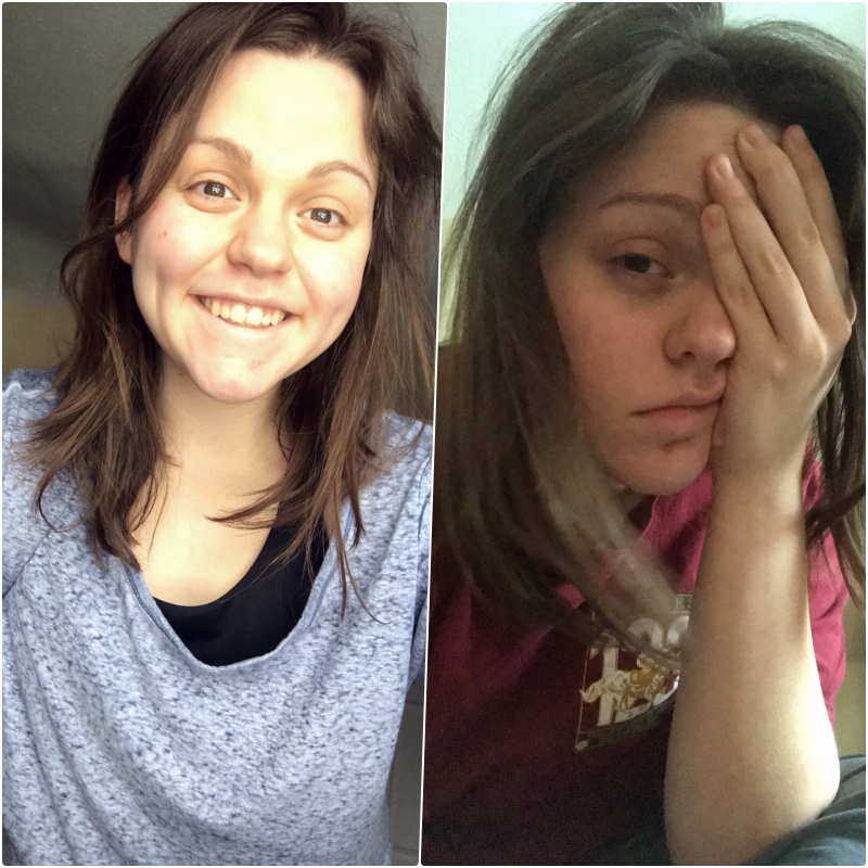 These pictures were taken on the same day within a few hours of each other; both accurately described how I was feeling at the time. Sent these to my boyfriend to show how I was doing. Mom, I promise I comb my hair!