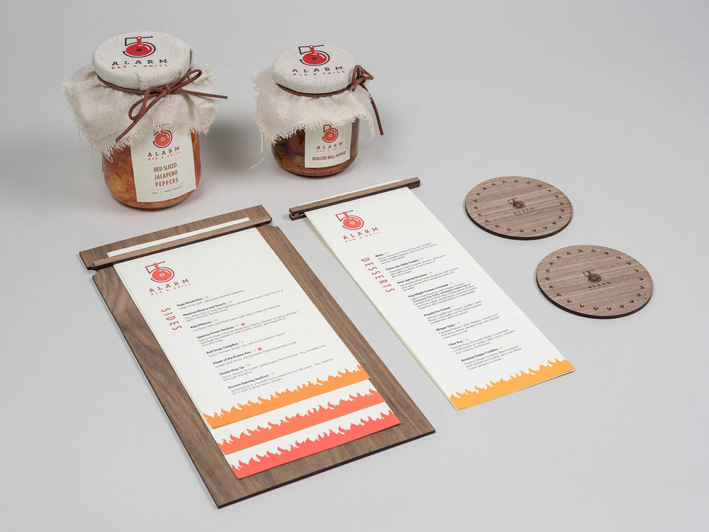 "Five alarm - Five Alarm is a high end modern restaurant that only serves spicy food, sourced from all around the world. I came up the name by vintage firefighter and the jargon ""five alarm"".The logo was designed based on cooking pan and vintage fire bell. Deliverables: MenuDesign, Packaging Design, Branding, UI/UX DesignArt Direction:Paul Sheriff & Bryan Satalino"