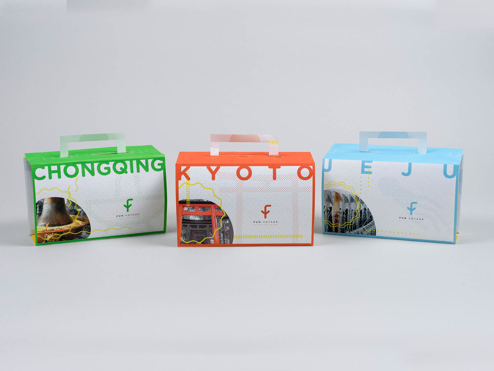 Fun Voyage - Fun Voyage is a package for Americans traveling to Asia. Each package is tailored to specific destinations. During the 15+ hr flight, you can read more about your arrival city, try out local snacks, or play local games. The packaging itself is a map—after you open it, you can fold it up and use it as a pocket guide. In addition, there is also an app you can install on your smartphone.Deliverables: branding, Packaging Design, UI/UX Design, LayoutArt Direction:Abby Guido
