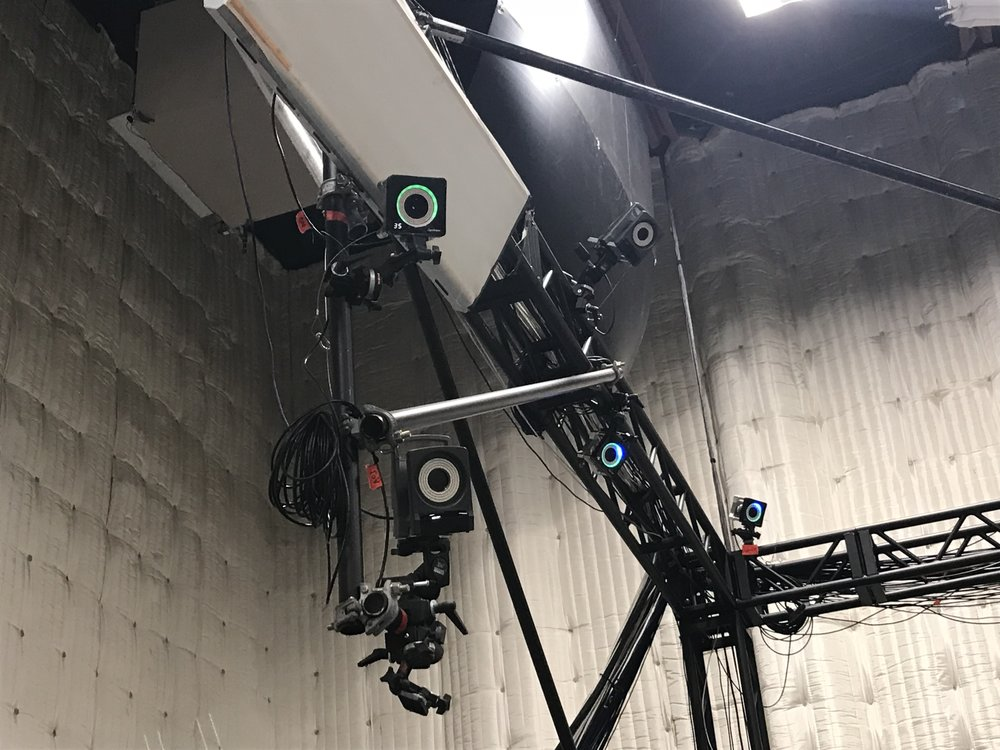 OptiTrack Cameras perched inside Animatrik Studios in Vancouver.