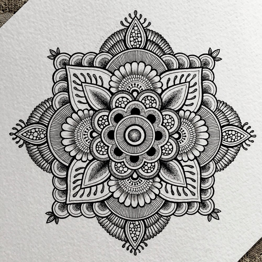 Drawings bold intricate flower henna style mandala izmirmasajfo Image collections