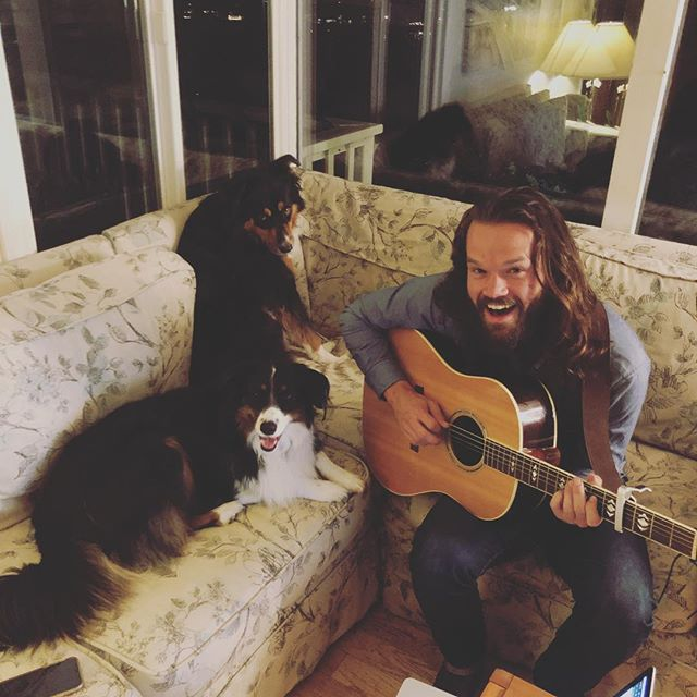 Dogs = Best practice companions. Getting ready for our show this Friday @hotelutah! We go on first (8:30!) and can't wait to see your beautiful faces . . . . #livemusic #acoustic #performance #sf #sfmusicscene #sfmusic #hotelutahsf #happnstance #friyay #hashtag #longhairdontcare