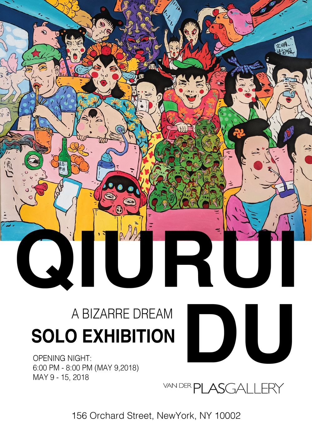 A Bizarre World - Van Der Plas Gallery is pleased to announce an art exhibition by the emerging Chinese artist Qiurui Du - A Bizarre Dream, which will be on view from May 9th - May 16th, 2018. For his first exhibition in NYC, Qiurui will present the latest series of Acrylic paintings based on the theme of his childhood memories. Qiurui explored his childhood memories in China with the social conflict that was caused by China's tremendous development and deconstructed his inner fear and love.