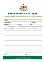 ANZAC Centenary Local Grants Committee application form