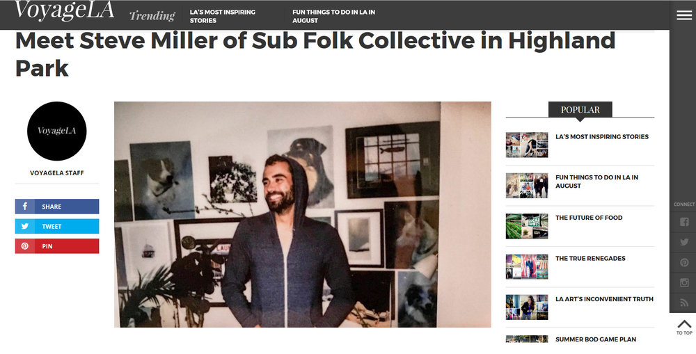 Article up with @voyagelamag about this dork and Sub Folk! The work they do is soooo freaking cool, reaching out to local creatives in LA. Thanks Voyage LA!