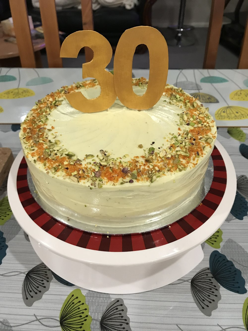 Carrot Cake - Single Layer - $45Double Layer - $65Spicy carrot cake with salted caramel cream cheese frosting.Decoration options - fresh flowers OR salted caramel drizzle with walnuts OR pistachios with orange zest