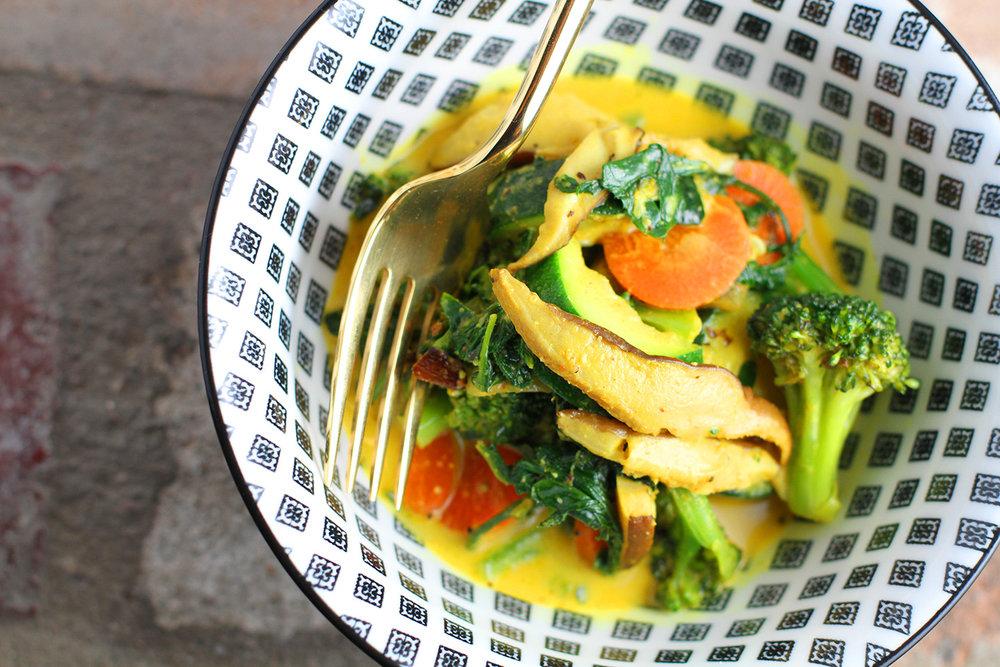 Sauteed Kale + Veggies in Coco Sauce