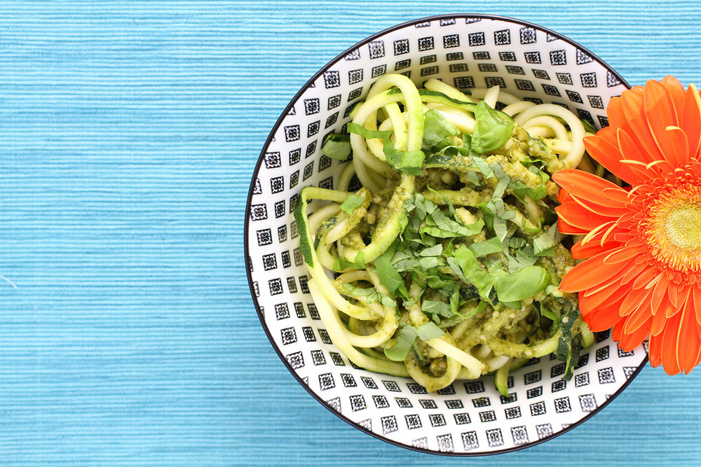 Zoodles with Sunflower Pesto
