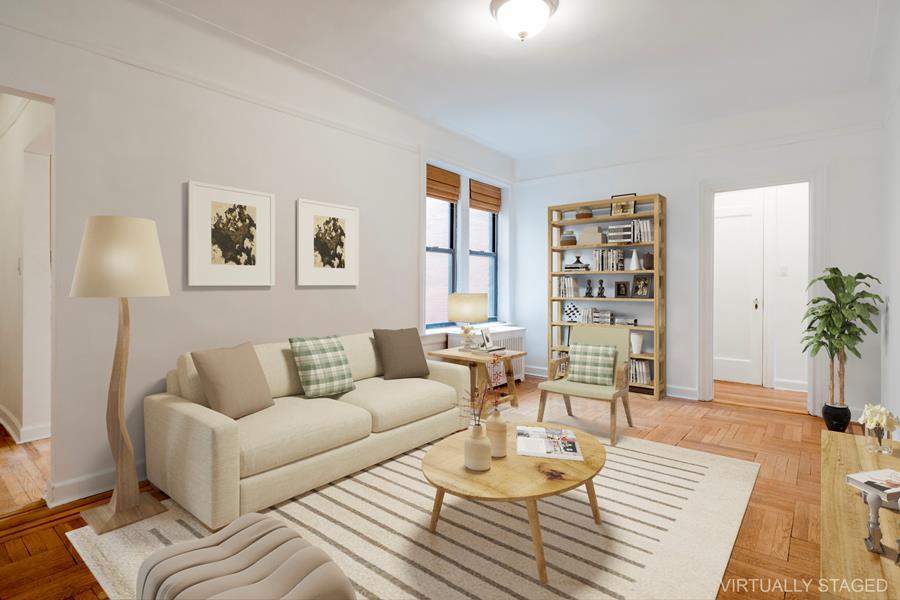 Virtually staged, livingroom