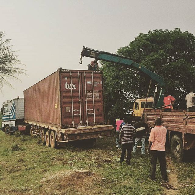 Our container made it out to the farm (and the Dordt engineering boys' bridge got its first huge test!  #AMORLiberia2016 #OneBodyOneHope #dordtcollege