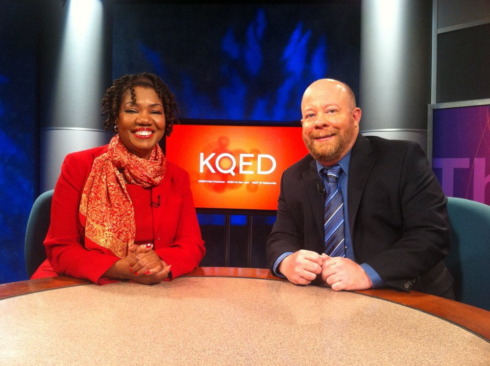 Bud Gundy and Michelle Henagan on KQED television.