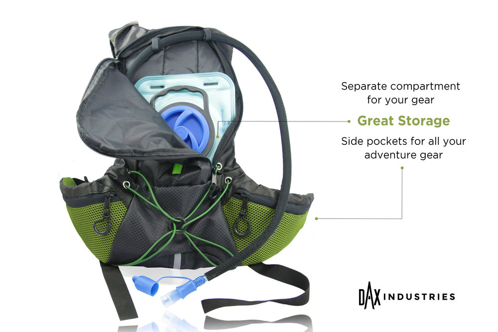 DAX Industries Hydration Backpack with 2L BPA Free Water Bladder  Multiple  Storage Compartments 3440fe36f7fca