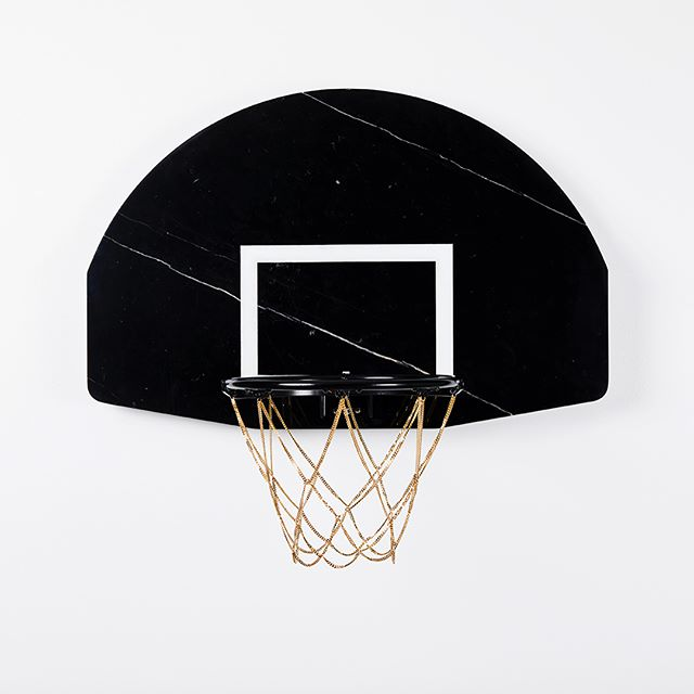 [ $ W I S H ] Marble backboard with 14k gold plated cuban link net. #weballdifferent