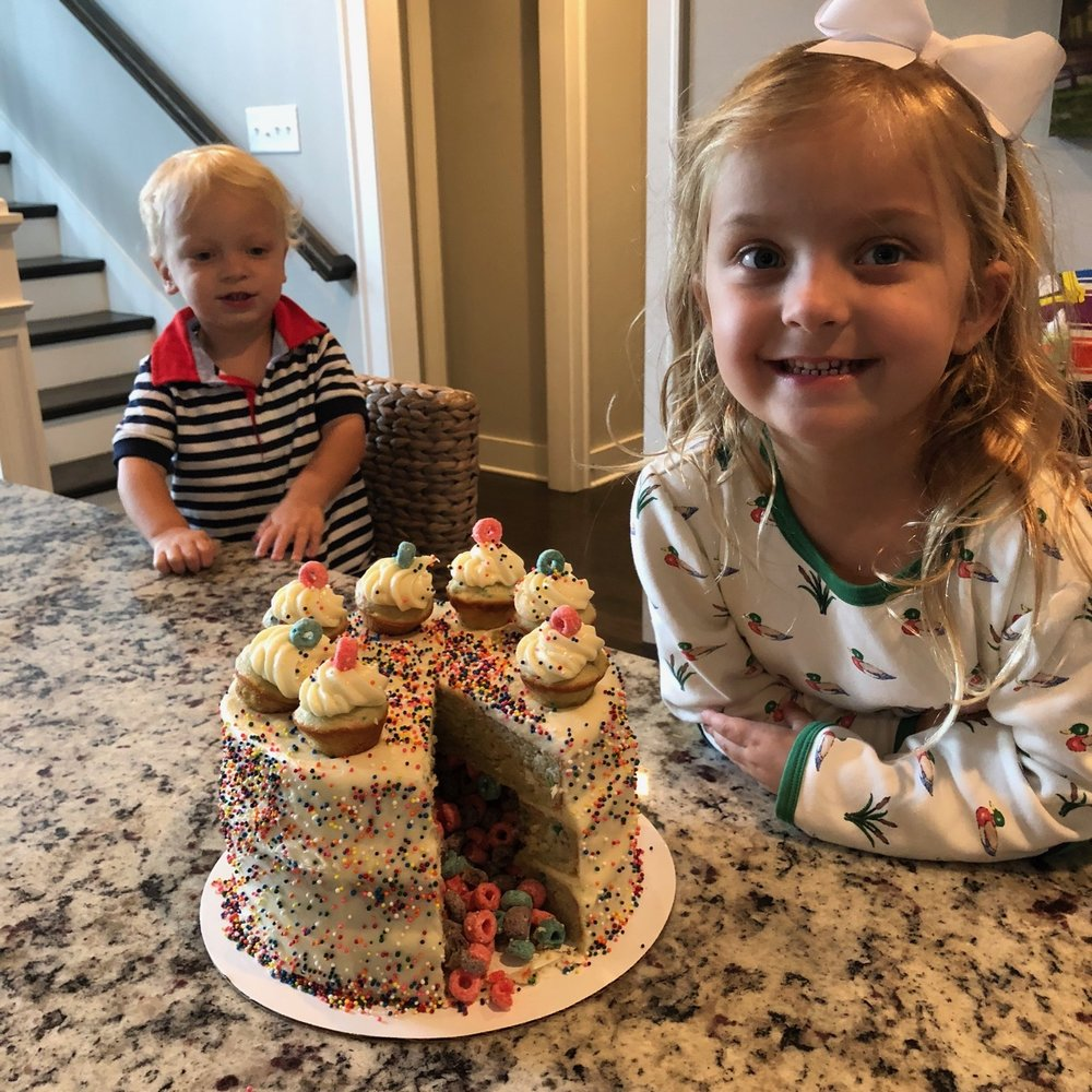 Griffin and her little brother, Ryan—super excited for the piñata cake!