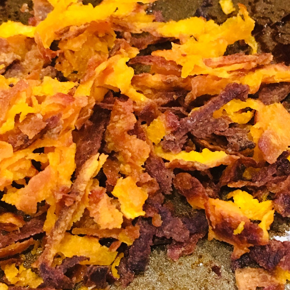 Grated sweet potatoes roast quickly!