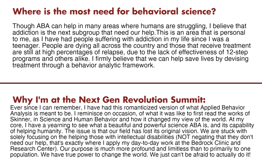 Next Gen Revolution Summit - Behavior Analysis like You've Never Experienced