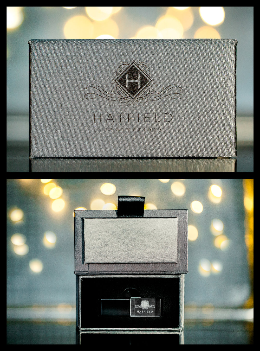Lux Collection   If you're looking for a very sophisticated Mini Lux Box with a sleek design and crystal USB drive. Boxes come in black, Grey, Gold or Metallic Taupe. A Perfect choice for all brides.