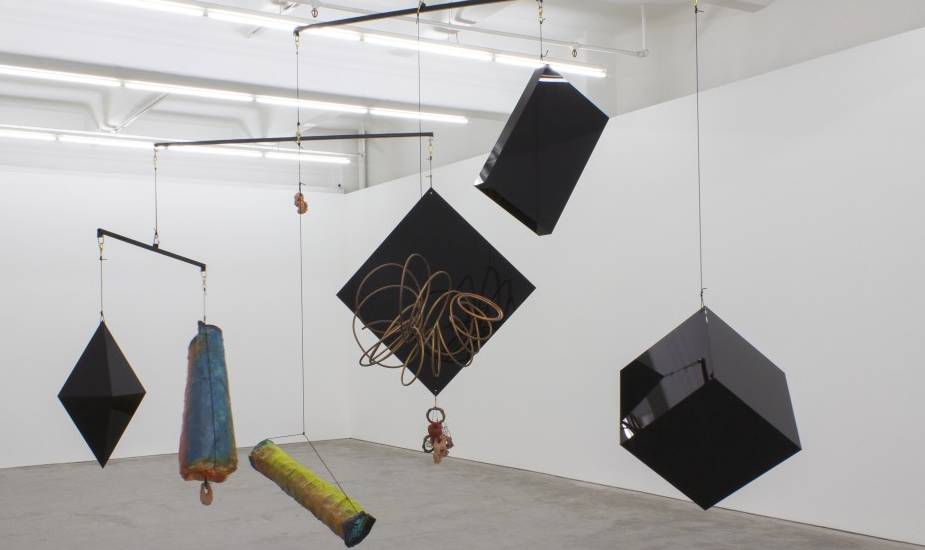 Mikala Dwyer, The Weight of Shape, 2014, installation view, acrylic, fibreglass, copper, ceramic, bronze, brass, stainless steel, steel and rope, dimensions variable, courtesy the artist and Anna Schwartz Gallery.