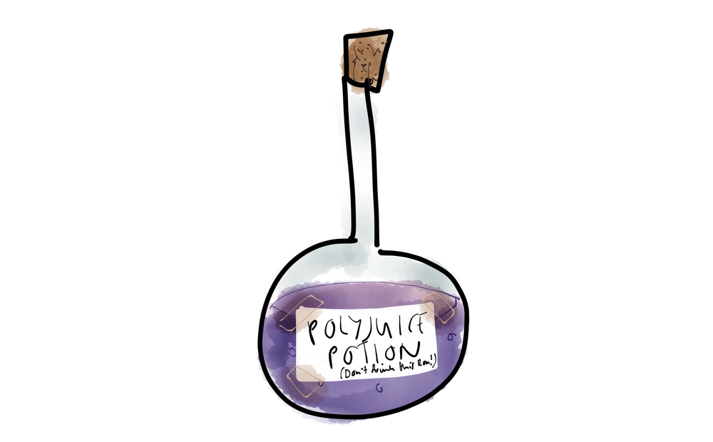 A terrible drawing of polyjuice potion