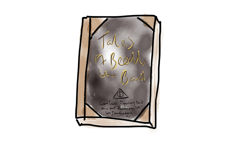 A terrible drawing of Hermione's copy of Tales of Beedle the Bard
